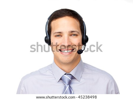 Smiling businessman talking on headset against a white background