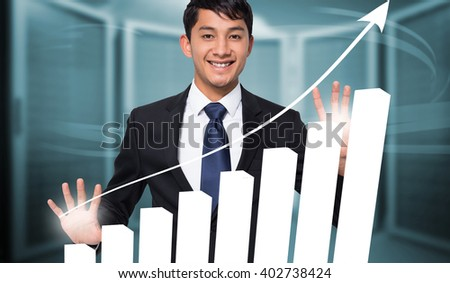 Smiling businessman touching against composite image of server room