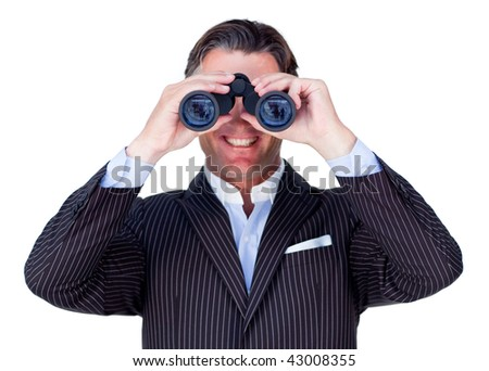 Smiling businessman using binoculars isolated on a white background