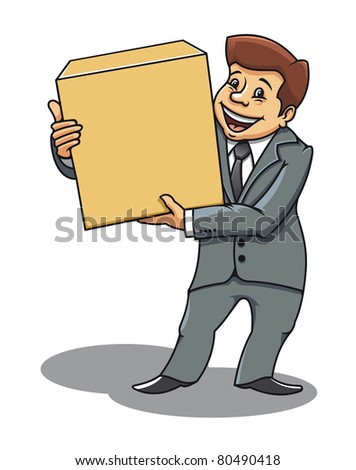 Smiling businessman with box for delivery concept design. Vector version also available in gallery