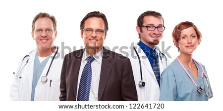 Smiling Businessman with Male and Female Doctors or Nurses Isolated on a White Background.