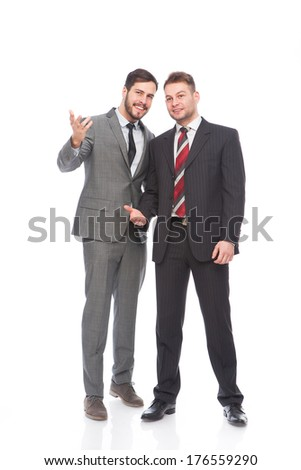smiling businessmen looking to the future on white background - stock photo