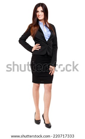 Smiling businesswoman full length