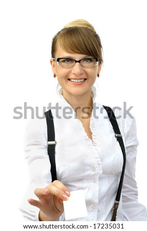 Smiling businesswoman gives visit card, isolated on white - stock photo