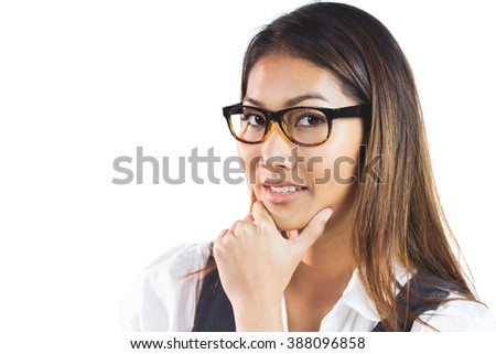 Smiling businesswoman holding her chin on white background - stock photo