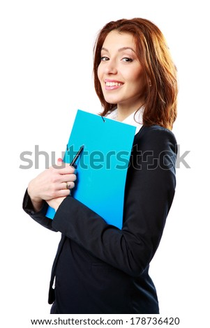 Smiling businesswoman holding notebook and pen isolated on white background