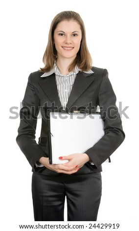 Smiling businesswoman. Isolated on white