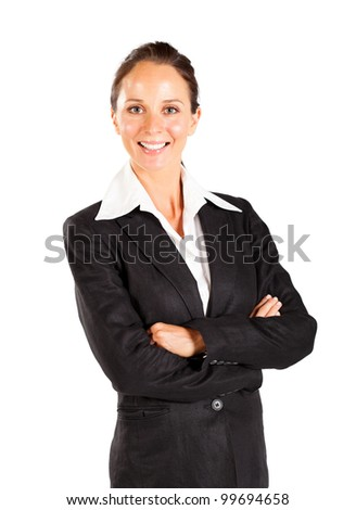 smiling businesswoman isolated on white - stock photo