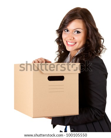 smiling businesswoman keeping cardboard box, white background