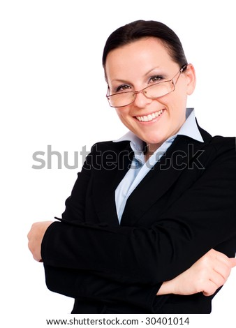 smiling businesswoman over white
