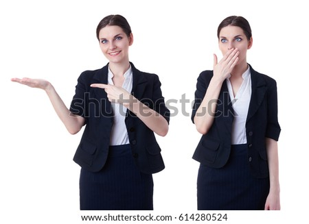 Smiling businesswoman standing over white isolated background showing something on hand, business, education, office , advertising concept