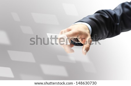 Smiling businesswoman talking on the phone as  winner and leader - stock photo