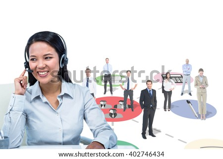 Smiling businesswoman using headset against apps - stock photo
