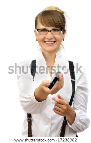 Smiling businesswoman with a control panel, isolated on white - stock photo