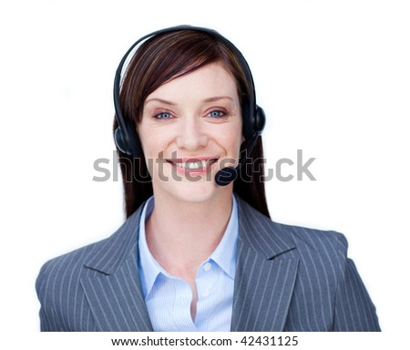 Smiling businesswoman with headset on against a white background