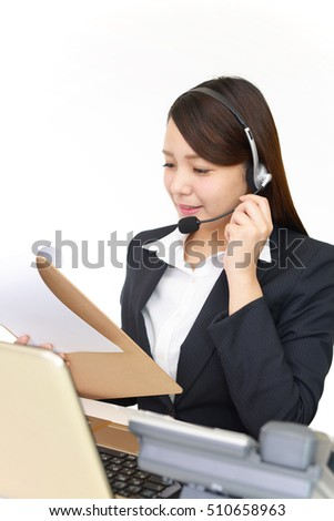 Smiling call center operator