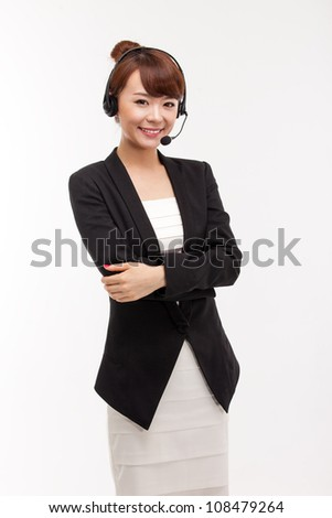 Smiling call center operator business woman - stock photo