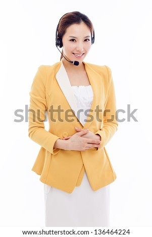 Smiling call center operator business woman isolated on white background. - stock photo