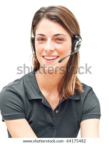 Smiling call center operator isolated on white - stock photo