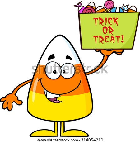 Smiling Candy Corn Cartoon Character Holds A Box With Candy And Text. Raster Illustration Isolated On White - stock photo