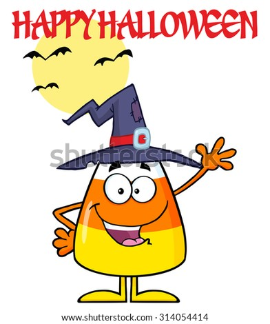 Smiling Candy Corn Cartoon Character With A Witch Hat Waving. Raster Illustration Isolated On White With Text - stock photo