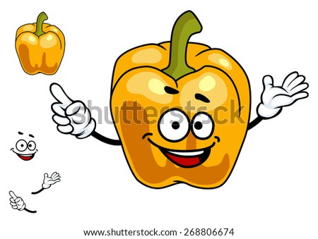 Smiling cartoon orange sweet bell pepper vegetable with a green stalk isolated on white