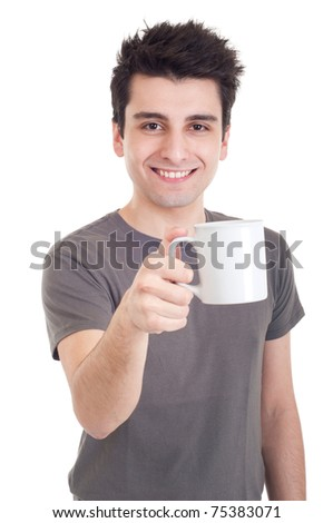 smiling casual man holding coffee/tea mug (isolated on white background)