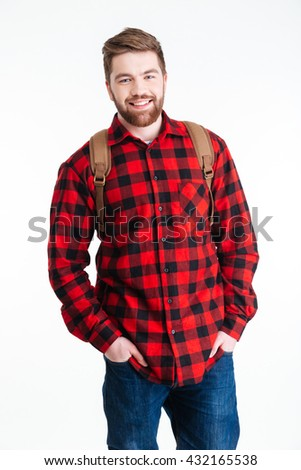 Smiling casual man looking at camera isolated on a white background - stock photo
