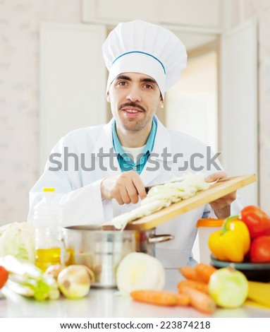 Smiling caucasian chef does veggy lunch - stock photo