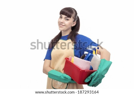 Smiling Caucasian Cleaner Woman With Lots of Accessories. Horizontal image. Isolated on White - stock photo