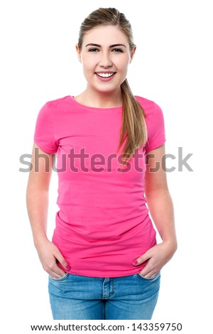 Smiling caucasian female model posing casually - stock photo