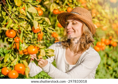 Smiling caucasian girl in white tshort and hat harvesting mandarins and oranges in organic farm. Healthy lifestyle concept - stock photo