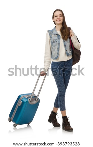 Smiling caucasian girl walking with suitcase isolated on white - stock photo