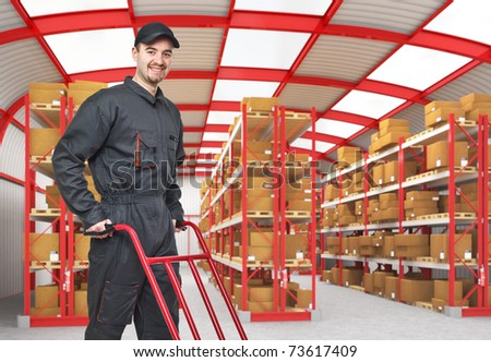 smiling caucasian man in classic warehouse 3d - stock photo
