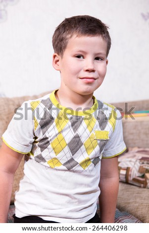 Smiling Caucasian preschool boy portrait - stock photo