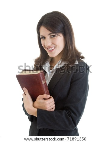 Smiling Caucasian Woman Holding Bible Closely Isolated White Background
