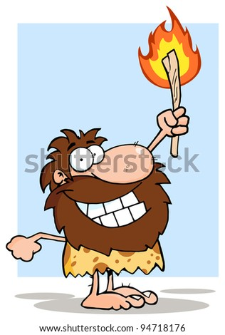 Smiling Caveman Holding Up A Torch - stock photo