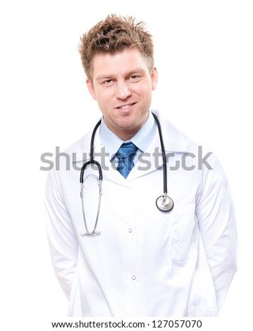 Smiling cheerful male medical doctor with stethoscope