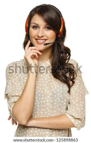 Smiling cheerful support phone operator woman in headset, isolated on white background