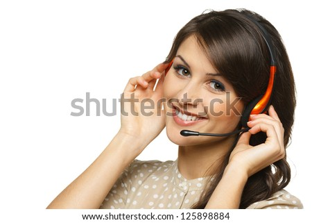 Smiling cheerful support phone operator woman in headset, isolated on white background - stock photo