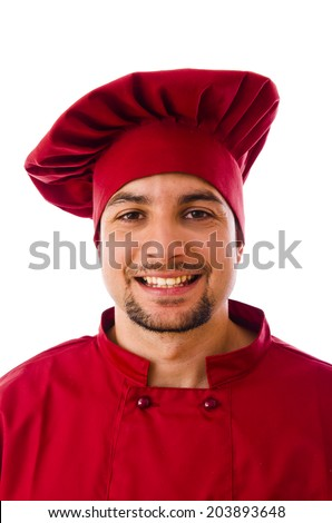 Smiling chef closeup portrait on white - stock photo