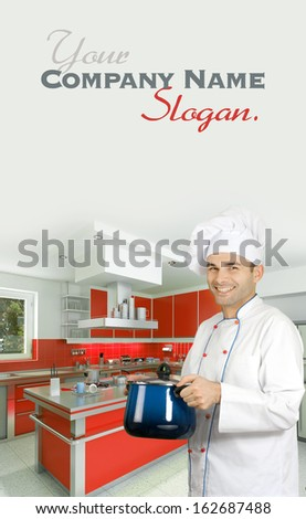 Smiling chef in a modern kitchen holding a casserole  - stock photo