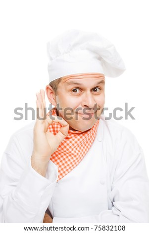 Smiling chef isolated on white showing ok hand sign - stock photo