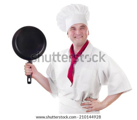Smiling chef showing empty plate isolated on white background