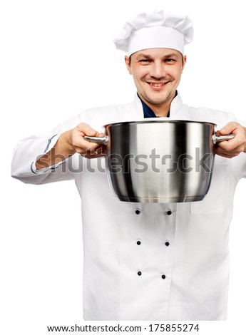 smiling chief holding metal pot in his hands isolated over white - stock photo