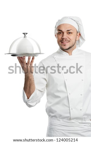smiling chief with tray and metal cloche lid cover in his hand isolated - stock photo