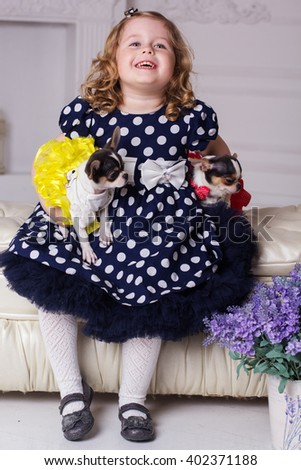 Smiling child girl is holding two small dogs - stock photo