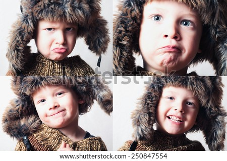 smiling child in fur Hat.Kids casual winter style.fashion little funny boy.children emotion.hat ear flaps.Beauty color collage. Faces of child. Fashion photo of little boy with chessboard. Emotion - stock photo