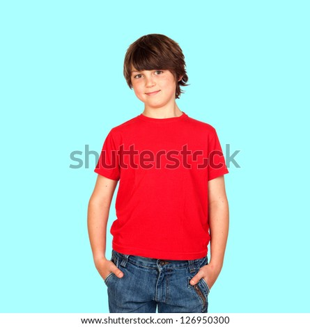 Smiling child with red shirt isolated on blue background - stock photo