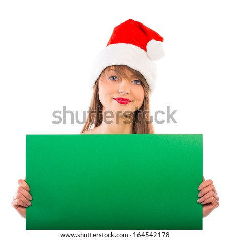 Smiling christmas girl with green placard on white background